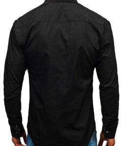 Camasa pentru barbat cu maneca lunga neagra Bolf 3707