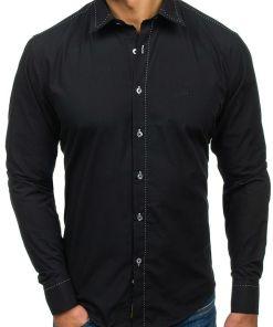 Camasa eleganta cu maneca lunga pentru barbat neagra Bolf 4719