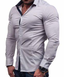 Camasa eleganta pentru barbat cu maneca lunga alba Bolf 7185