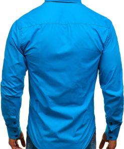 Camasa eleganta cu maneca lunga pentru barbat albastra Bolf 1721