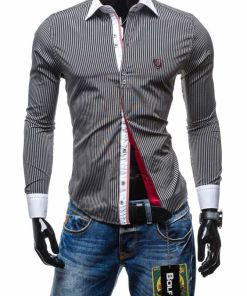 Camasa eleganta pentru barbat in carouri cu maneca lunga neagra Bolf 4784-1