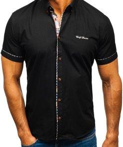 Camasa eleganta pentru barbat cu maneca scurta neagra Bolf 5509-1