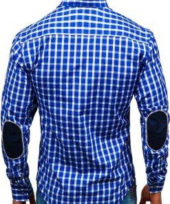 Camasa eleganta cu maneca lunga pentru barbat albastru-aprins Bolf 4747