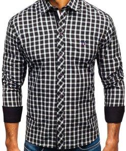 Camasa eleganta in carouri barbati negru Bolf 4747