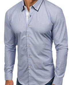 Camasa eleganta pentru barbat cu maneca lunga albastru-deschis Bolf 9658