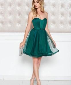 Rochie Ana Radu verde-inchis de lux tip corset din tul captusita pe interior cu bust buretat accesorizata cu cordon