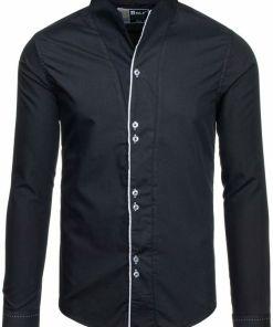 Camasa pentru barbat cu maneca lunga neagra Bolf 5720-1
