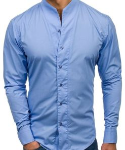 Camasa pentru barbat cu maneca lunga albastra Bolf 5702