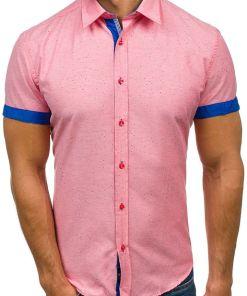 Camasa pentru barbat cu print decorativ si maneca scurta roz Bolf 6521