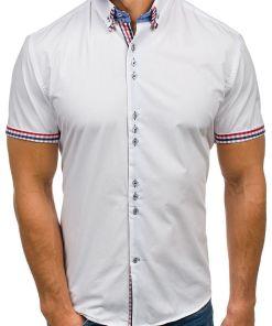 Camasa pentru barbat in carouri cu maneca lunga alba Bolf 3507