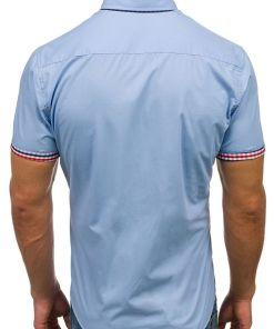 Camasa pentru barbat in carouri cu maneca lunga albastru-deschis Bolf 3507