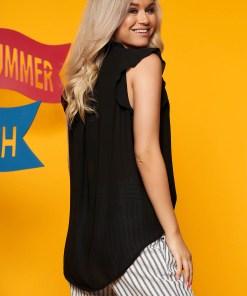 Bluza dama SunShine neagra casual scurta cu decolteu in v