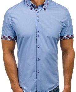 Camasa pentru barbat cu maneca scurta albastru-deschis Bolf 6540