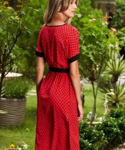 Rochie StarShinerS rosie de zi in clos cu maneci scurte cu buline si cordon detasabil