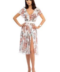 Rochie alba din voal de zi midi in clos cu decolteu adanc decupat pe picior cu imprimeuri grafice