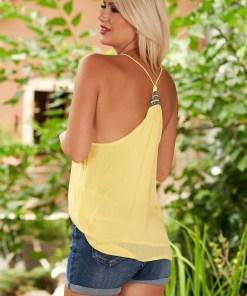 Top SunShine galben casual cu bretele cu decolteu adanc