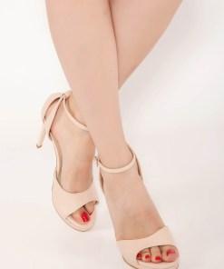 Sandale nude elegante cu toc inalt din piele naturala