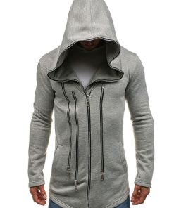 Bluza lunga pentru barbat cu gluga gri Bolf Y36-2