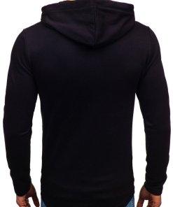 Bluza pentru barbat cu gluga si imprimeu neagra Bolf 9080