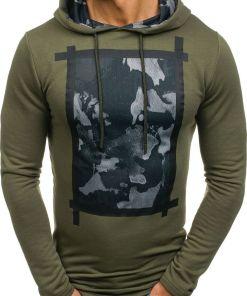 Bluza cu gluga si imprimeu pentru barbat kaki Bolf 9088