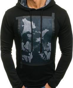 Bluza cu gluga si imprimeu pentru barbat neagra Bolf 9088