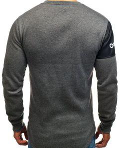 Bluza fara gluga cu imprimeu pentru barbat gri-antracit Bolf J07