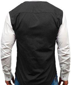 Camasa eleganta cu maneca lunga pentru barbat neagra Bolf 6919