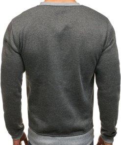 Bluza fara gluga cu imprimeu pentru barbat gri-antracit Bolf J10