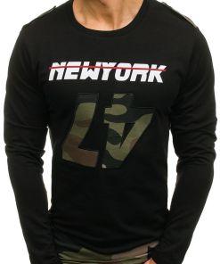Bluza cu imprimeu pentru barbat neagra-verde Bolf 0757