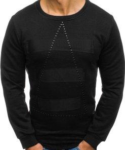 Bluza fara gluga cu imprimeu pentru barbat neagra Bolf 9102
