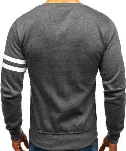 Bluza fara gluga cu imprimeu pentru barbat gri-antracit Bolf J45
