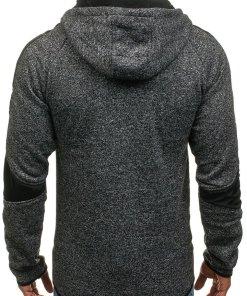 Bluza cu gluga pentru barbat neagra Bolf 2917