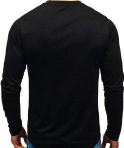 Bluza fara gluga cu imprimeu pentru barbat neagra-albastra Bolf 0756