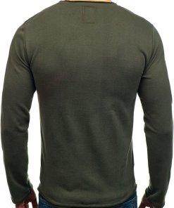 Bluza fara gluga cu imprimeu pentru barbat verde Bolf 9081