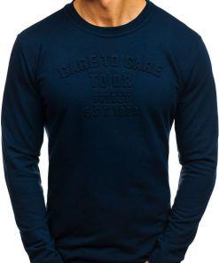 Bluza fara gluga cu imprimeu pentru barbat bluemarin-inchis Bolf 9096