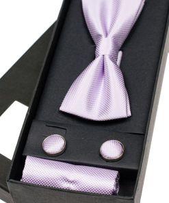 Set pentru barbat papion, butoni, batista roz-deschis Bolf MSP01