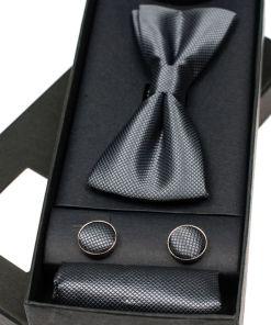 Set pentru barbat papion, butoni, batista gri-inchis Bolf MSP01