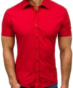 Camasa eleganta pentru barbat cu manea scurta rosie Bolf 7501