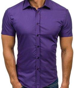 Camasa eleganta cu maneca scurta pentru barbat violet Bolf 7501