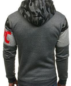 Bluza cu gluga si imprimeu pentru barbat grafit Bolf DD56