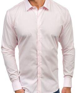Camasa eleganta cu maneca lunga pentru barbat roz Bolf TS100