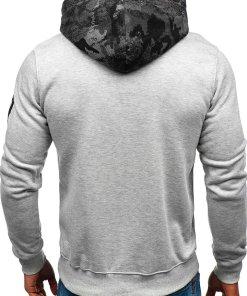 Bluza cu gluga si imprimeu pentru barbat gri Bolf DD45
