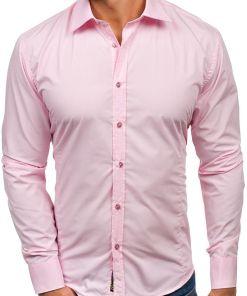 Camasa eleganta pentru barbat cu maneca lunga roz Bolf 1703