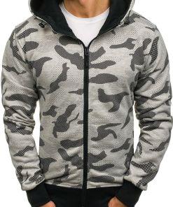 Bluza pentru barbat cu gluga si fermoar camuflaj-gri Bolf AK36