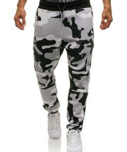 Pantaloni sportivi joggers pentru barbat camuflaj-gri-galbeni Bolf 0801