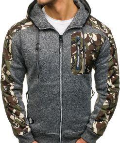 Bluza pentru barbat cu gluga si fermoar camuflaj-grafit Bolf HH508