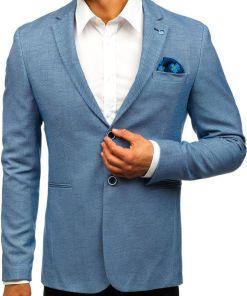 Sacou casual pentru barbat albastru Bolf 0158A