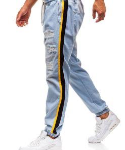 Jeansi baggy pentru barbat albastri-deschis Bolf 2041