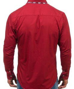 Camasa eleganta pentru barbat cu maneca lunga bordo Bolf 4704-1