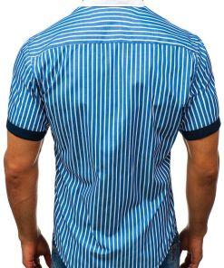 Camasa eleganta pentru barbat in carouri cu maneca scurta albastra Bolf 4501